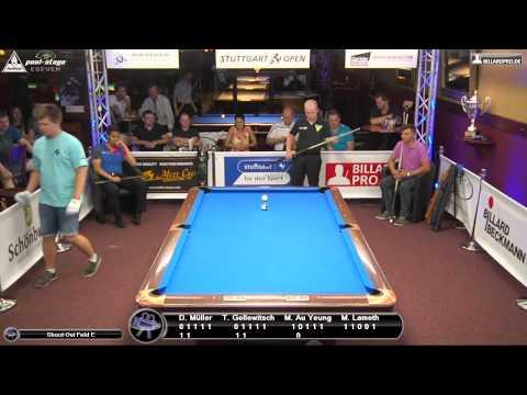 Stuttgart Open 2015, No. 18, Shootout Field E, Pool-Billard, Müller, Gollowitsch, Au Yeung, Lamoth