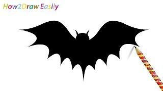 bat draw easy silhouette drawing step drawings steps