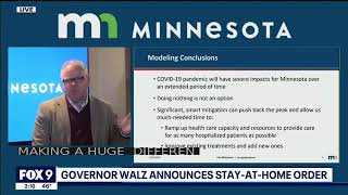 MN Governor update on Covid 19 - 3/25/2020  Tim Walz  - announcing shut down of state - 1 Death