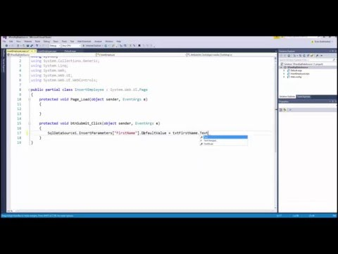 ASP.NET - Stored Procedures and SQLDataSource - Insert Data
