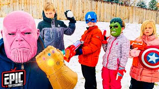 Nerf Battle: Avengers Hero Kidz vs Thanos Snowball Showdown - Pretend Play For Kids