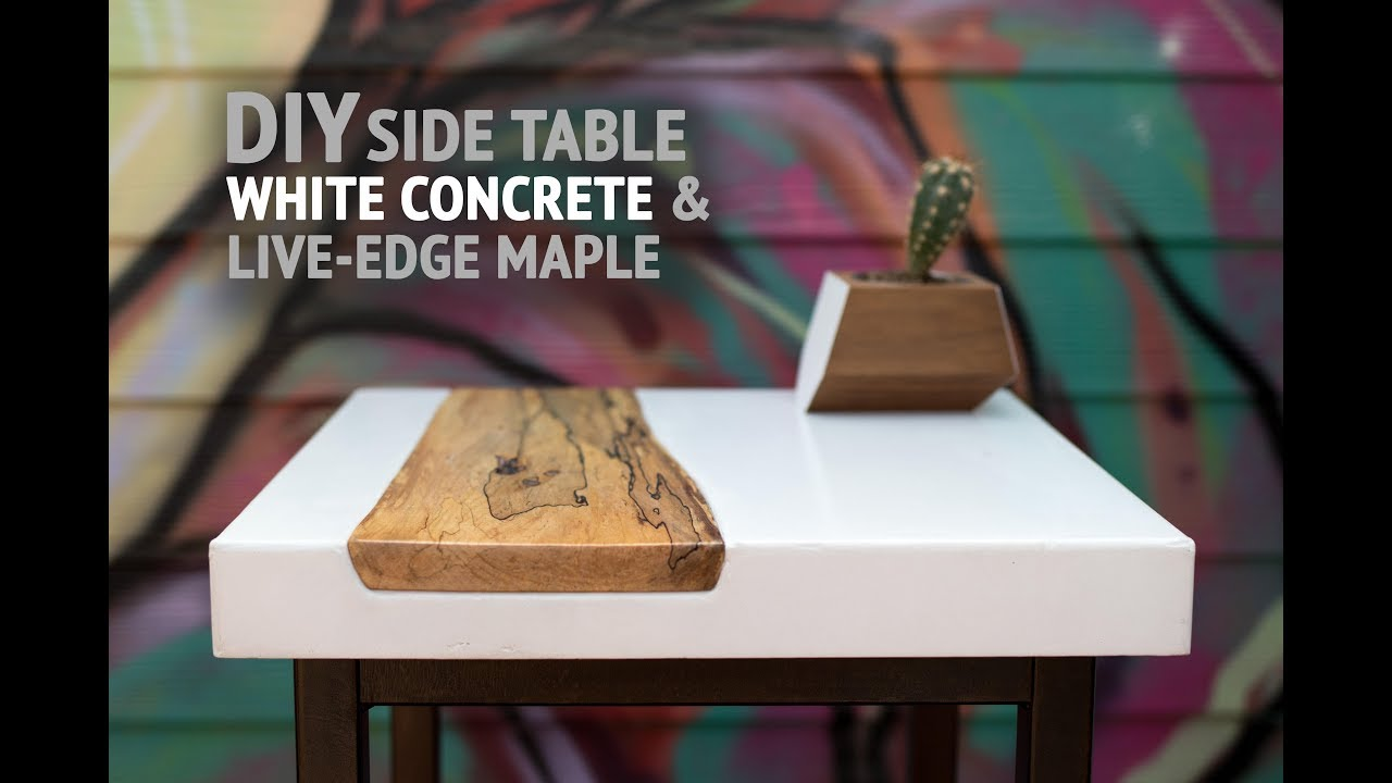 DIY White Concrete Table w/ Live-Edge Maple Inlay (using ...