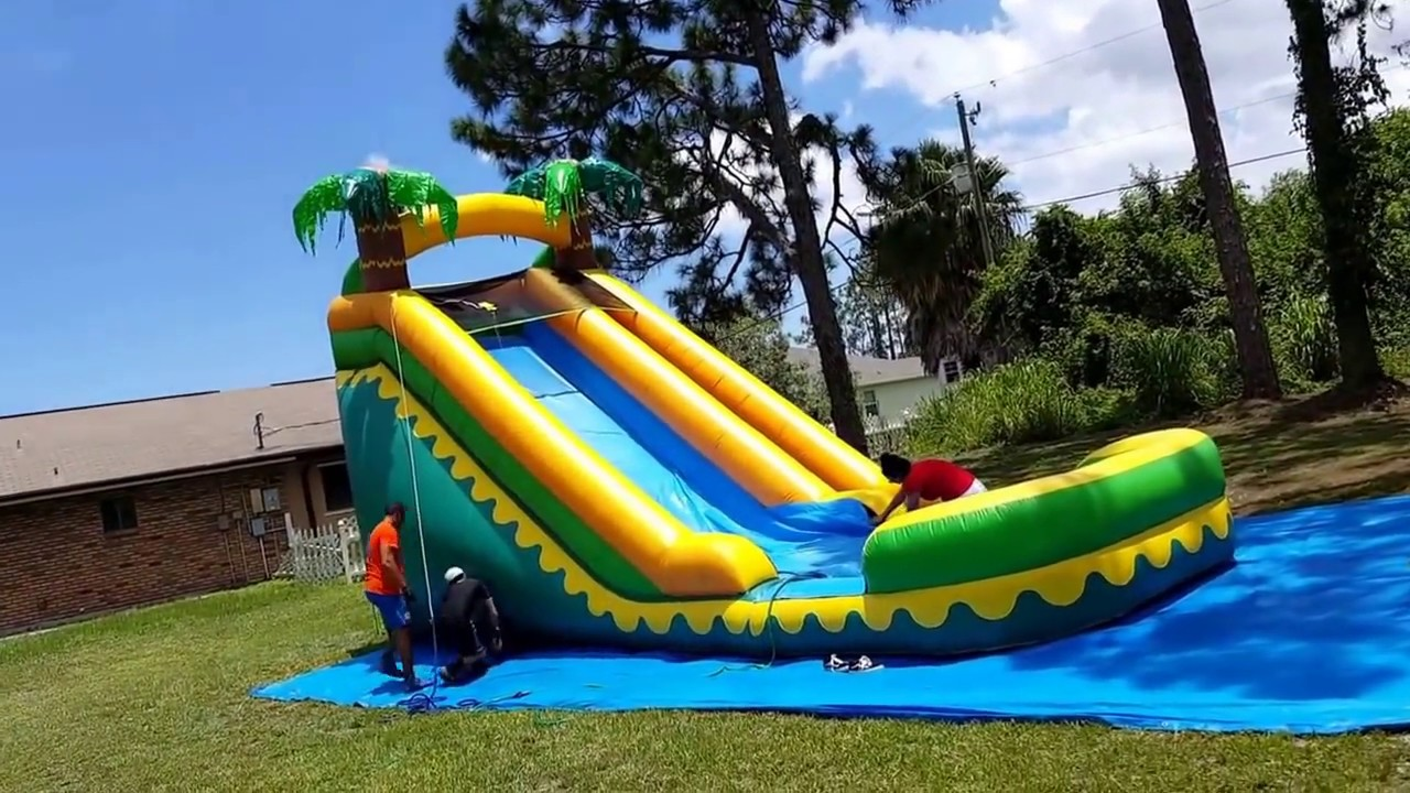 18 Feet Tall Tropical Waterslide 220 Delivery Youtube