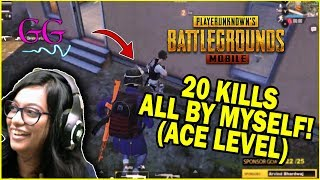 WHEN SHE RAGES! 20 Kills all by myself: ace level gameplay! #PUBGM