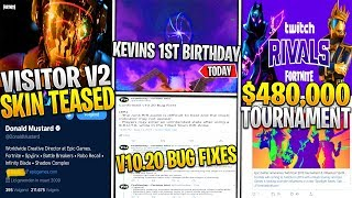 Fortnite: VISITOR SKIN v2 Teased! v10.20 Update Bug Fixes, Cube 1st Birthday, $450k Tournament