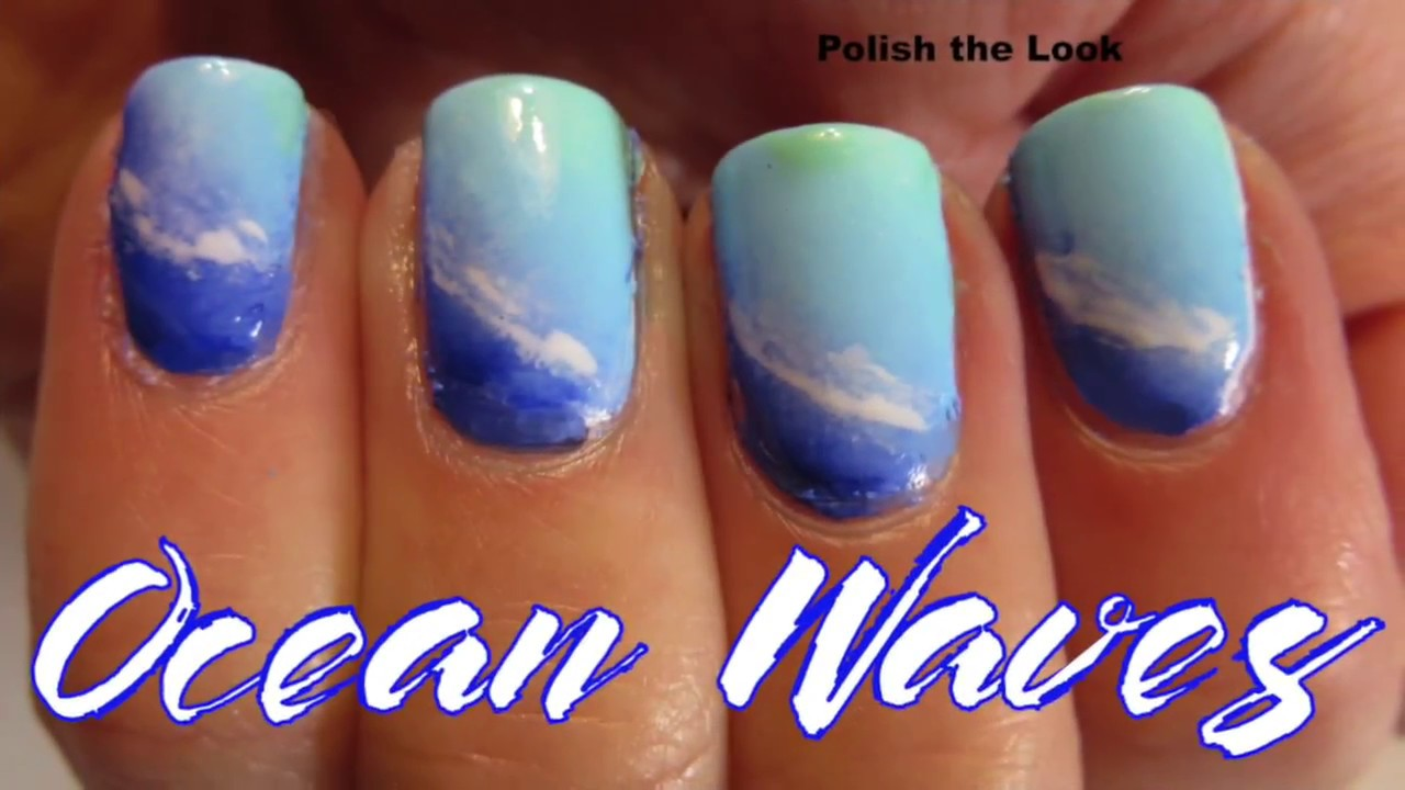Ocean Wave Gradient Nail Design Summer Nail Art Youtube