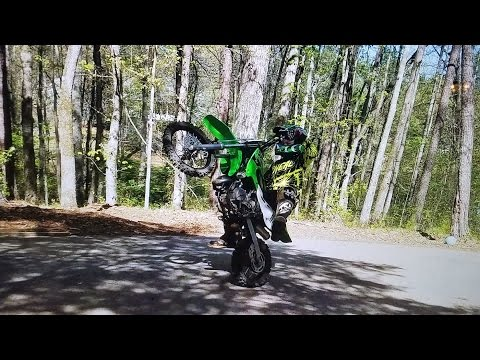 Just wheelies and jumps on  Kawasaki kx 65 Fun stuff to do.