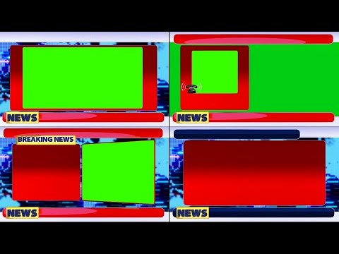 Pack of 4 3D Animated Free Green Screen news bumper- breaking news window | Phono plate | News Plate