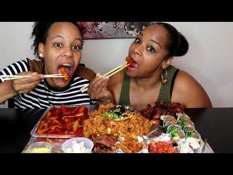 Americans Try Korean Food Mukbang먹방  (Tteokbokki, Kimbap, Kimchi and more!)