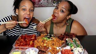 Americans Try Korean Food Mukbang먹방  (Tteokbokki, Kimbap, Kimchi and more!)