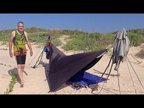 Ultralight Hammock Camping at Matagorda Beach, TX, USA