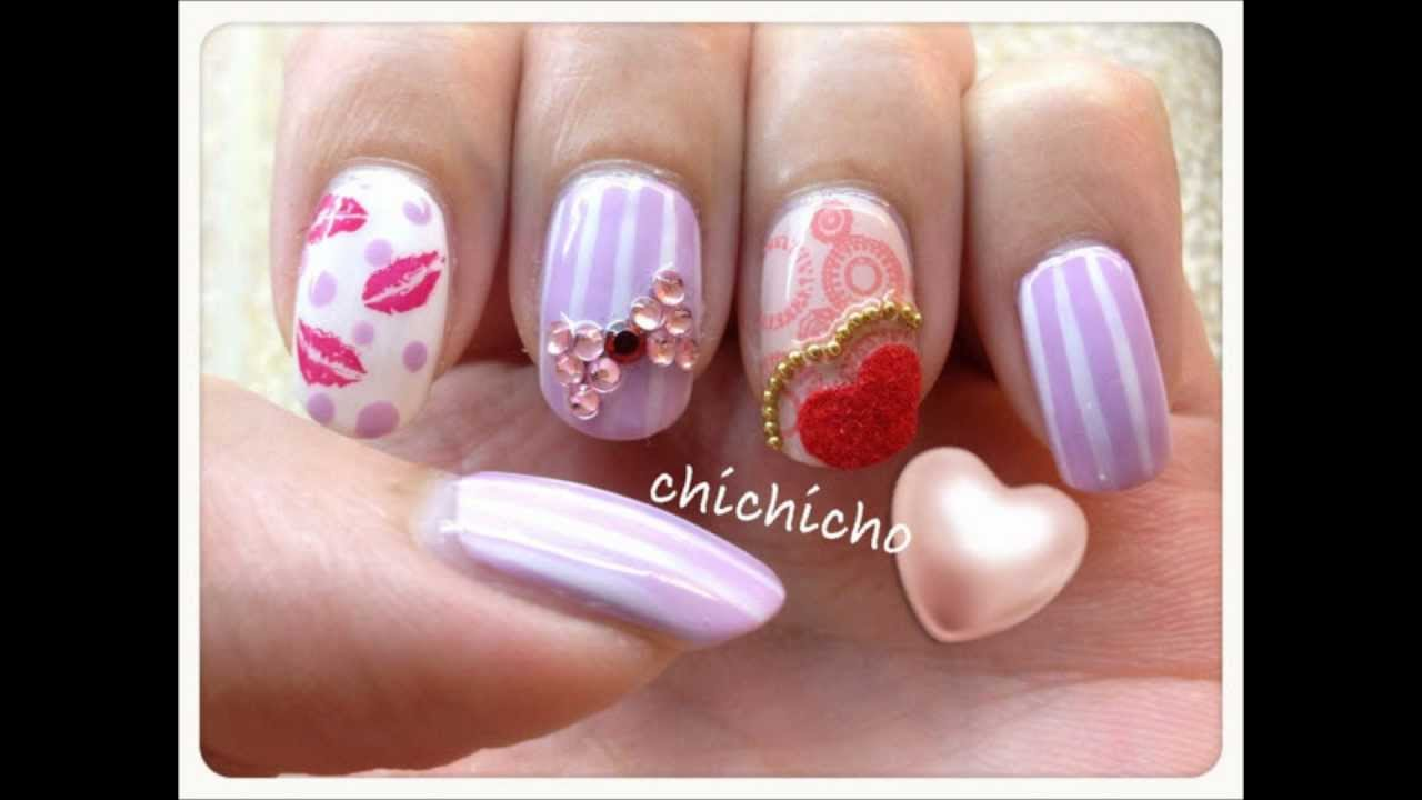 Valentines Day Fuzzy Heart And Kisses Nail Art Youtube