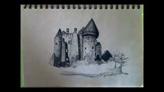 Pen Drawing by Michal Shapira - Burg (Castle) Kreuzenstein, Austria