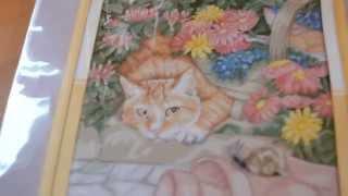 обзор на набор для вышивки  Кот и улитка с Алиэкспресс