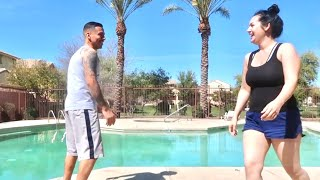 Getting Pushed Into The Pool!!!