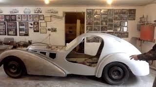 Applying body fill and primer to Bugatti