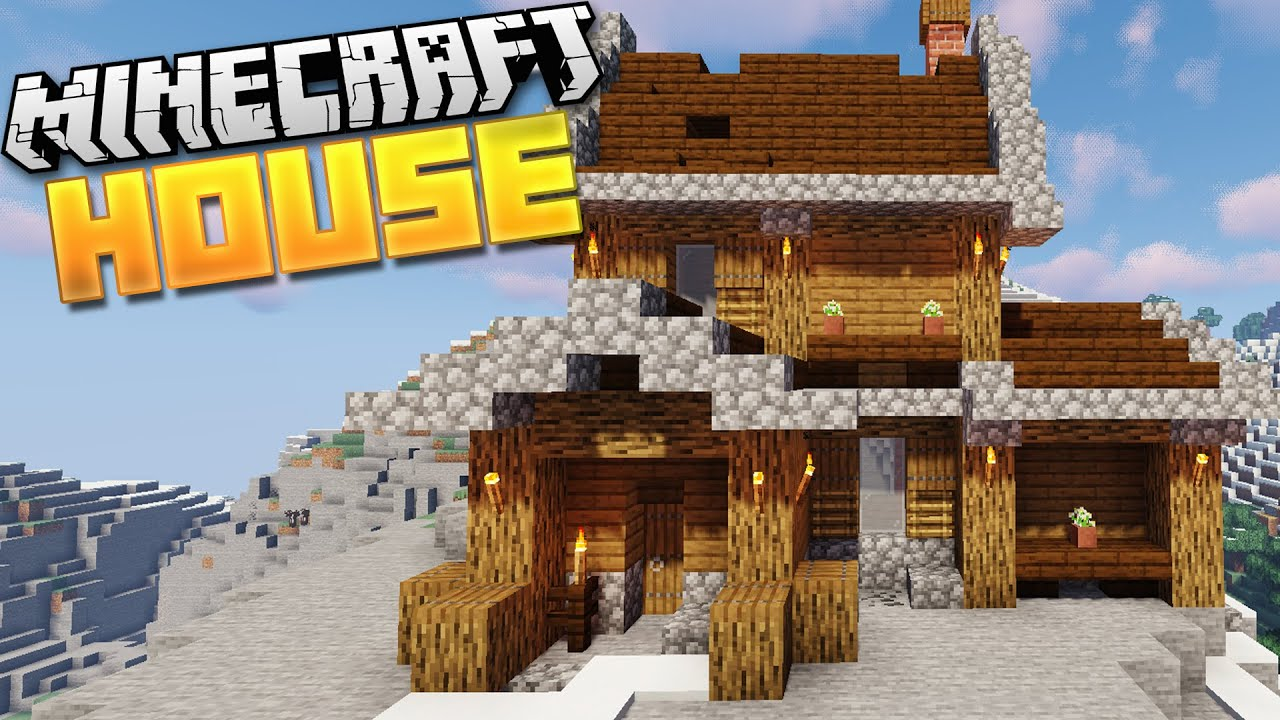 How To Build A Rustic Mountain Starter House In Minecraft 1 14 Tutorial Youtube