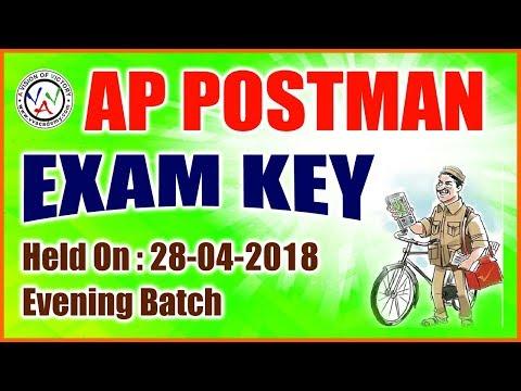 AP Postal - postman / mail guard - exam key - evening Paper 28-04-2018 -vv academy