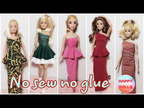 5 Easy DIY 👗 DRESSES for dolls NO SEW NO GLUE  #dolls #barbie #happydolls