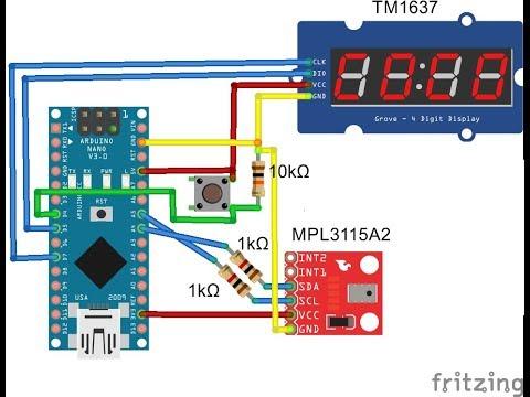 Portable Altimeter using Arduino and pressure sensor (MPL3115A2)