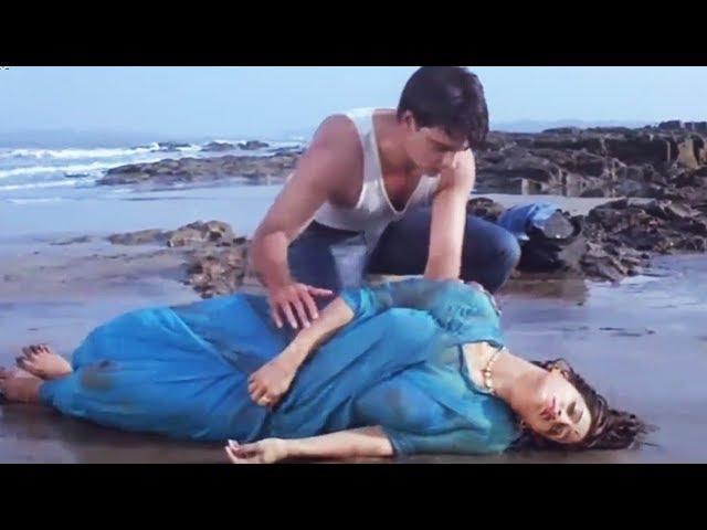 Man saves Ashwini Bhave on the beach | Teri Mohabbat Ke Naam Hindi Movie | Bollywood Scene