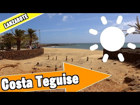 Costa Teguise Lanzarote Spain: Tour of beach and resort