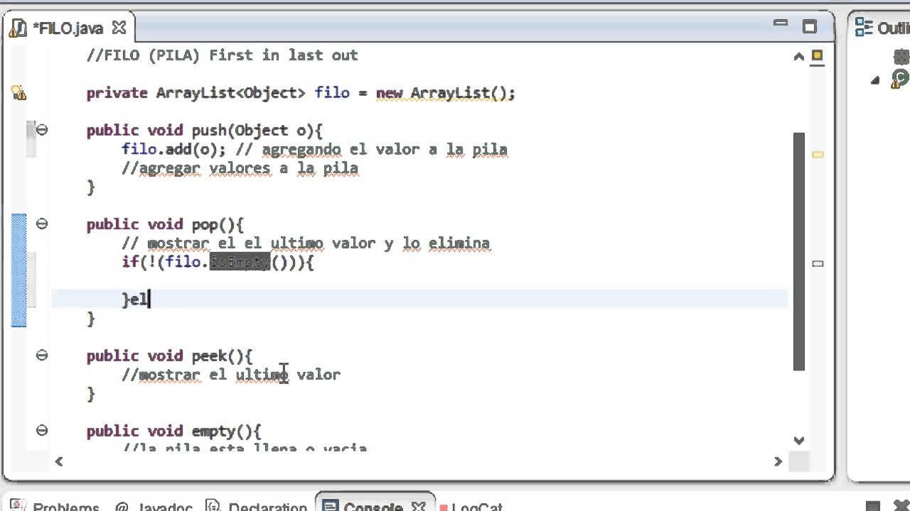 Como programar una pila en java netbeans o eclipse filo for Como programar en java