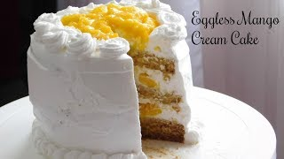 Eggless Mango Cream Cake ????