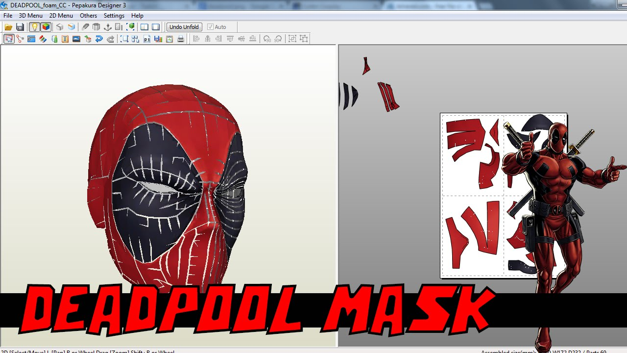 Deadpool Pepakura Helmet Files Youtube
