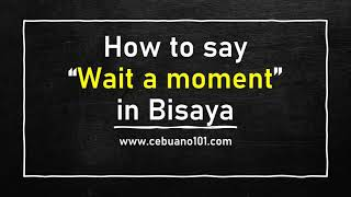 How to say Wait a Moment in Bisaya Cebuano   Bisaya for English Speakers