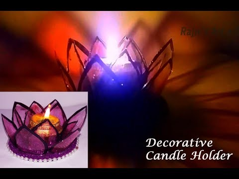 DIY Lotus Candle Holder from Plastic Bottle | Best Out Of Waste Decorative Candle Stand