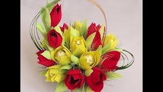 Тюльпан из конфет. Видео мастер-класс. Tulip Candy master class(Этот и многие другие мастер классы по изготовлению букетов из конфет смотрите на нашем сайте http://buket7.ru/blog., 2014-02-20T09:22:07.000Z)