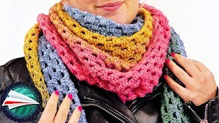 Kolorowa wielokolorowa chusta na jesień TUTORIAL | Szydełkowanie dla każdego