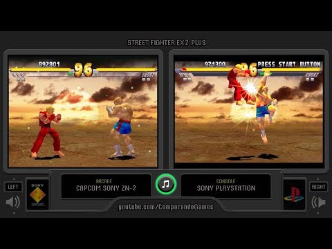 Dual Longplay [40] Street Fighter EX2 Plus (Arcade vs Playstation) Side by Side Comparison