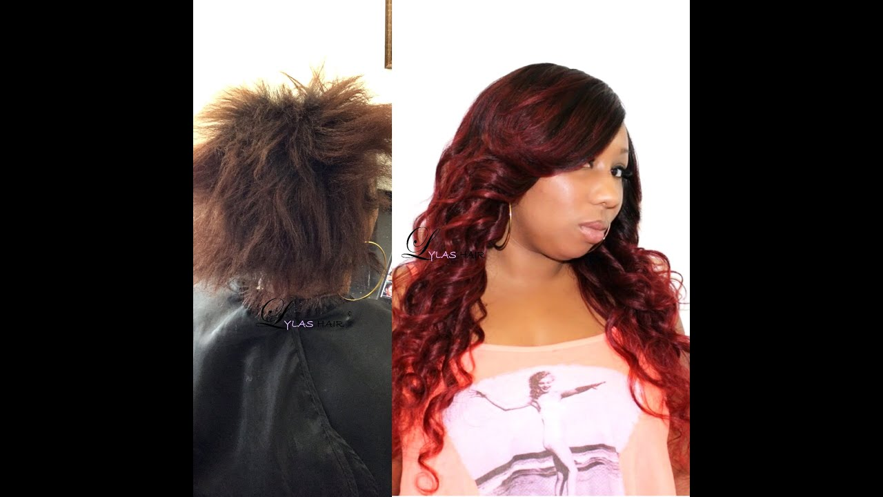 Red Ombre Full Enclosure Sew In Youtube