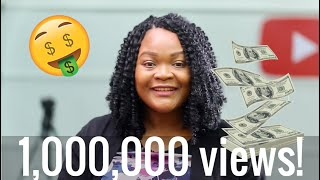 How Much YouTube Paid Me For My 1,000,000 Viewed Video  (not clickbait)
