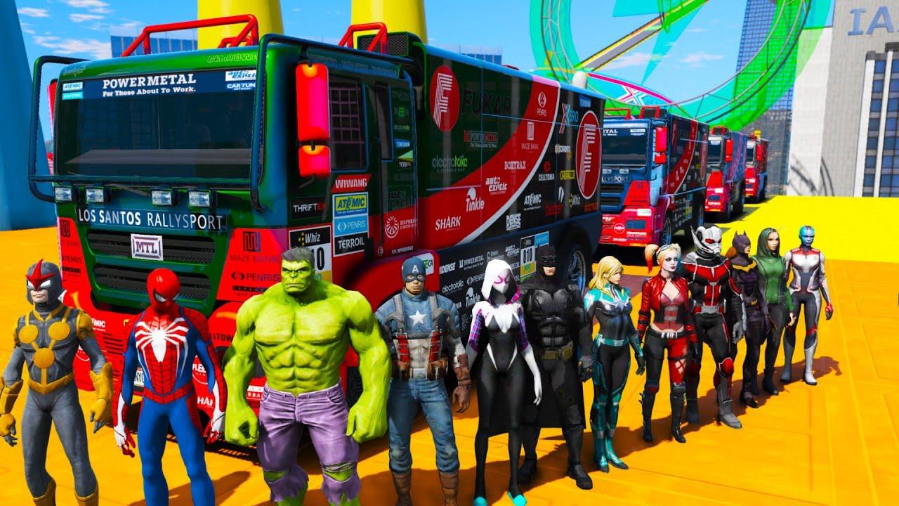 Desafio de Carros Сaminhões com Homem-Aranha e SuperHeróis! Spiderman Truck Сhallenge GTA 5