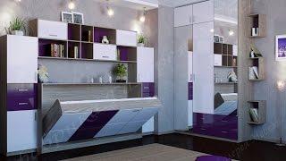 Откидная горизонтальная кровать-трансформер в интерьере комнаты: фото, видео