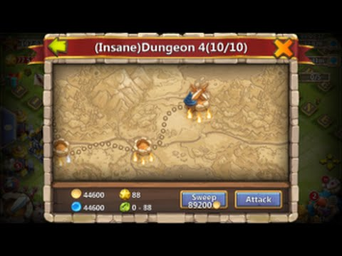 Castle Clash 3 Flame Final Insane Dungeon WITH Dread Drake 3 TIMES IN A ROW
