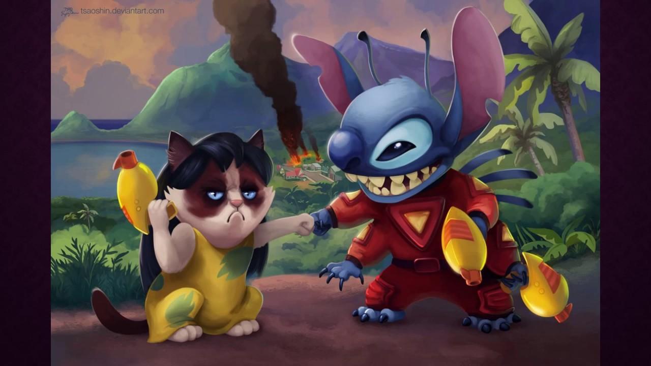 disney characters as grumpy cat youtube