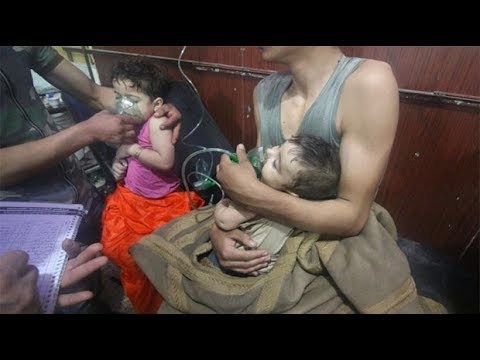 Young children treated in suspected chemical attack in Douma, Syria