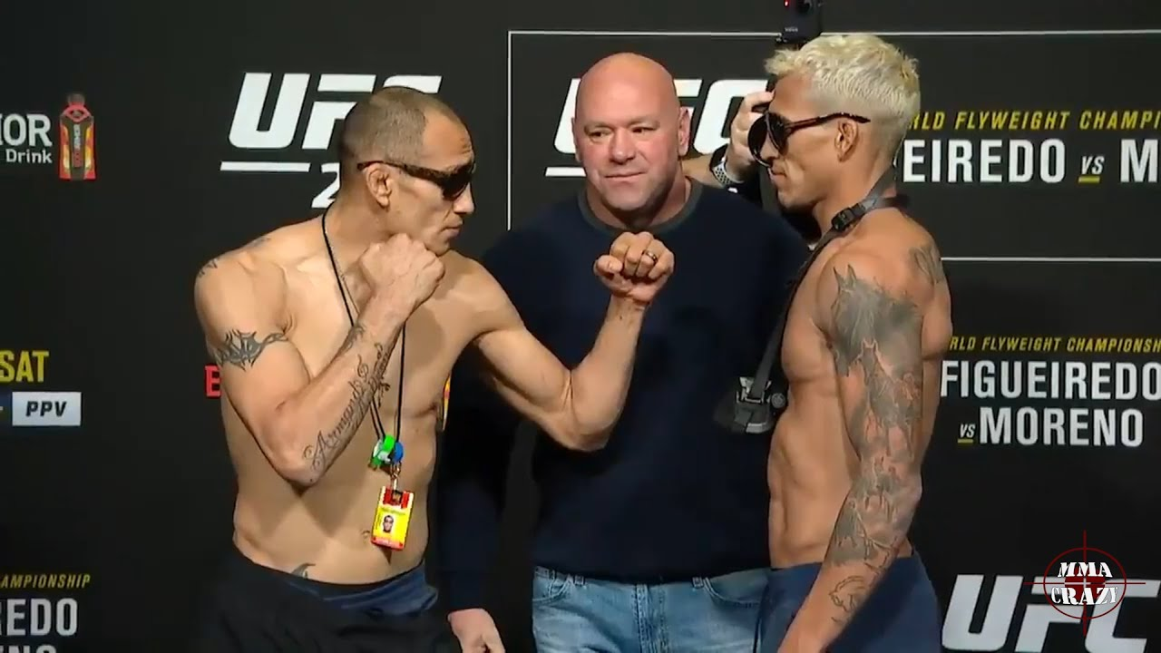 UFC 256: Tony Ferguson vs. Charles Oliveira weigh in face off - YouTube