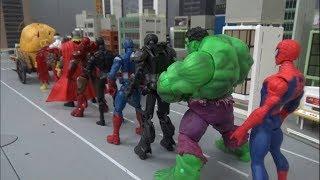 Spiderman 10 Super Heroes Load in a wheelbarrow toys play 스파이더맨 10명 슈퍼 히어로 수레 싣기 장난감 놀이
