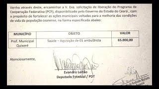 Deputado Evandro Leitão garante R$ 65 000 para aquisição de ambulância