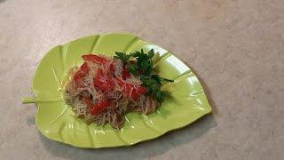 Рисовая вермишель с овощами и говядиной (свининой)/Rice vermicelli with vegetables and beef (pork).