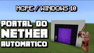 Portal do Nether AUTOMÁTICO (ATUALIZADO!) No Minecraft PE 12.1 - Tutorial ep.3*