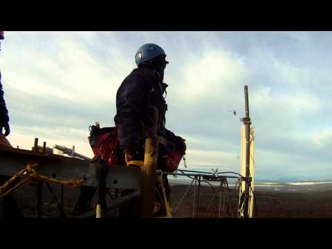 VERIZON 4G LTE Upgrade using a helicopter on Streaked Mountain, Hebron Maine.  Alpha face new mount,