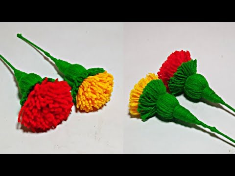 Marigold Woolen Flower Latest And Easy Design Making // Woolen Crafts -- Home Decoration idea thumbnail