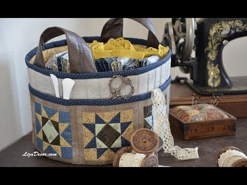 Patchwork Sewing basket - Flying Geese & Corner. Tutorial LizaDecor