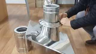 видео Проход дымохода через металлочерепицу кровли: советы по установке